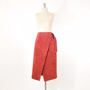 NWT ASOS Red Suede Leather Midi Pencil Skirt